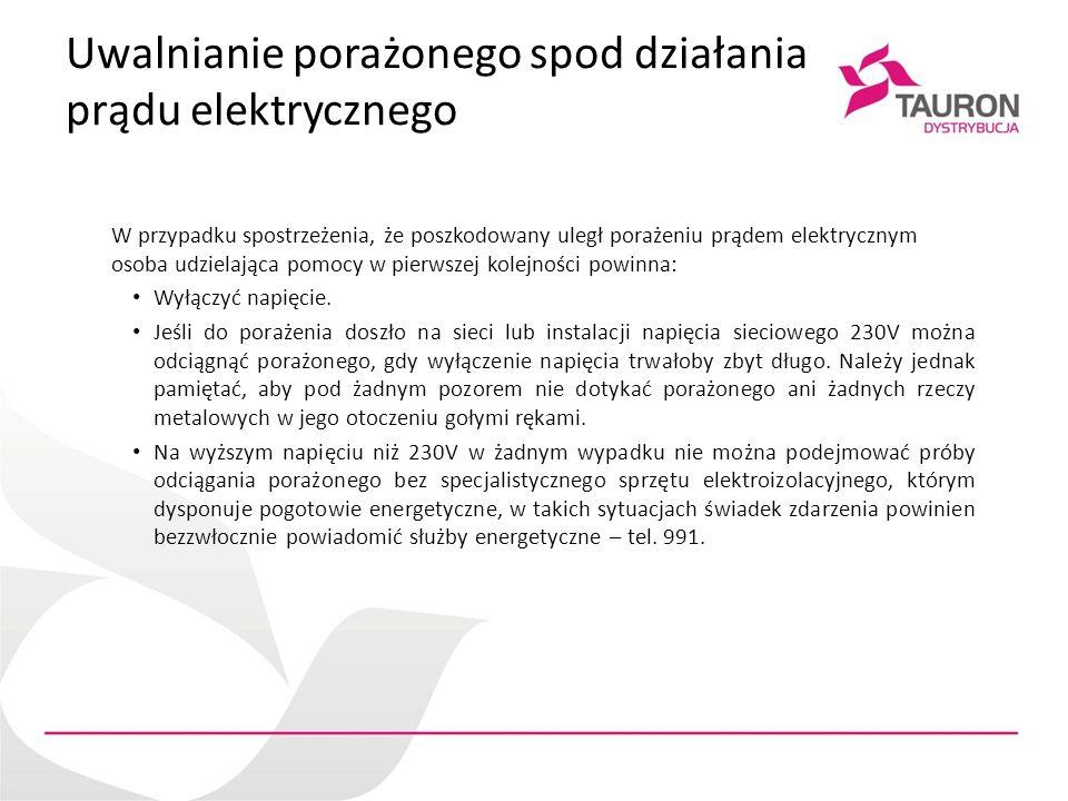 Uwalnianie porażonego spod działania prądu elektrycznego W przypadku spostrzeżenia, że poszkodowany uległ porażeniu prądem elektrycznym osoba udzielaj