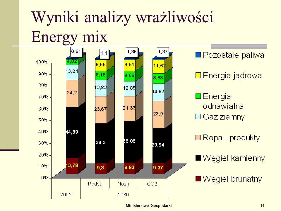 Ministerstwo Gospodarki13 Analiza wrażliwości wyników prognozy na zmiany cen Wykonano analizę wrażliwości wariantu podstawowego (P) prognozy energetyc