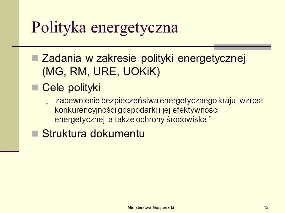 Ministerstwo Gospodarki14 Wyniki analizy wrażliwości Energy mix