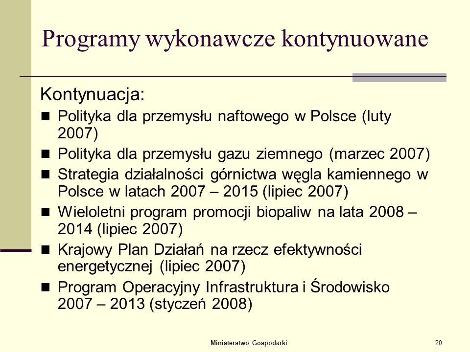 Ministerstwo Gospodarki19 Załączniki – programy wykonawcze Nowe programy: Program czysty węgiel Program rozwoju energetyki jądrowej Program wspierania