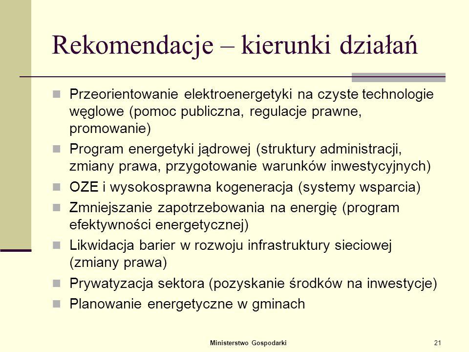 Ministerstwo Gospodarki20 Programy wykonawcze kontynuowane Kontynuacja: Polityka dla przemysłu naftowego w Polsce (luty 2007) Polityka dla przemysłu g