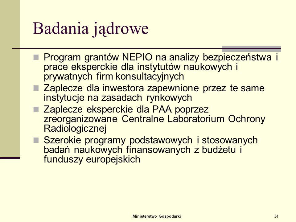 Ministerstwo Gospodarki33 Przygotowanie procesu zamówienia publicznego Opracowanie kryteriów wyboru reaktora Wybór opcji realizacyjnej