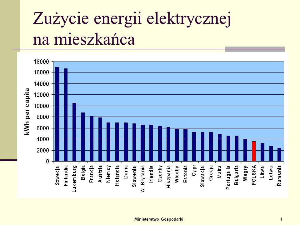 Ministerstwo Gospodarki4 Zużycie energii elektrycznej na mieszkańca