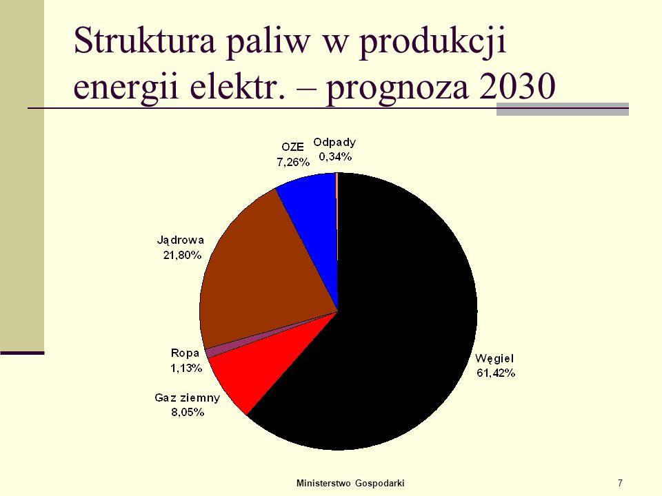 Ministerstwo Gospodarki6 Polska EU Świat Struktura paliw w produkcji energii elektrycznej – obecna (2005)