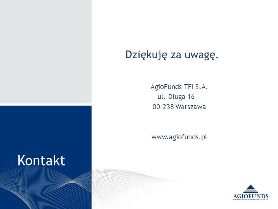 Kontakt Dziękuję za uwagę. AgioFunds TFI S.A. ul. Długa 16 00-238 Warszawa www.agiofunds.pl