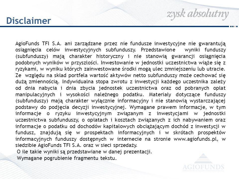 Disclaimer AgioFunds TFI S.A. ani zarządzane przez nie fundusze inwestycyjne nie gwarantują osiągnięcia celów inwestycyjnych subfunduszy. Przedstawion