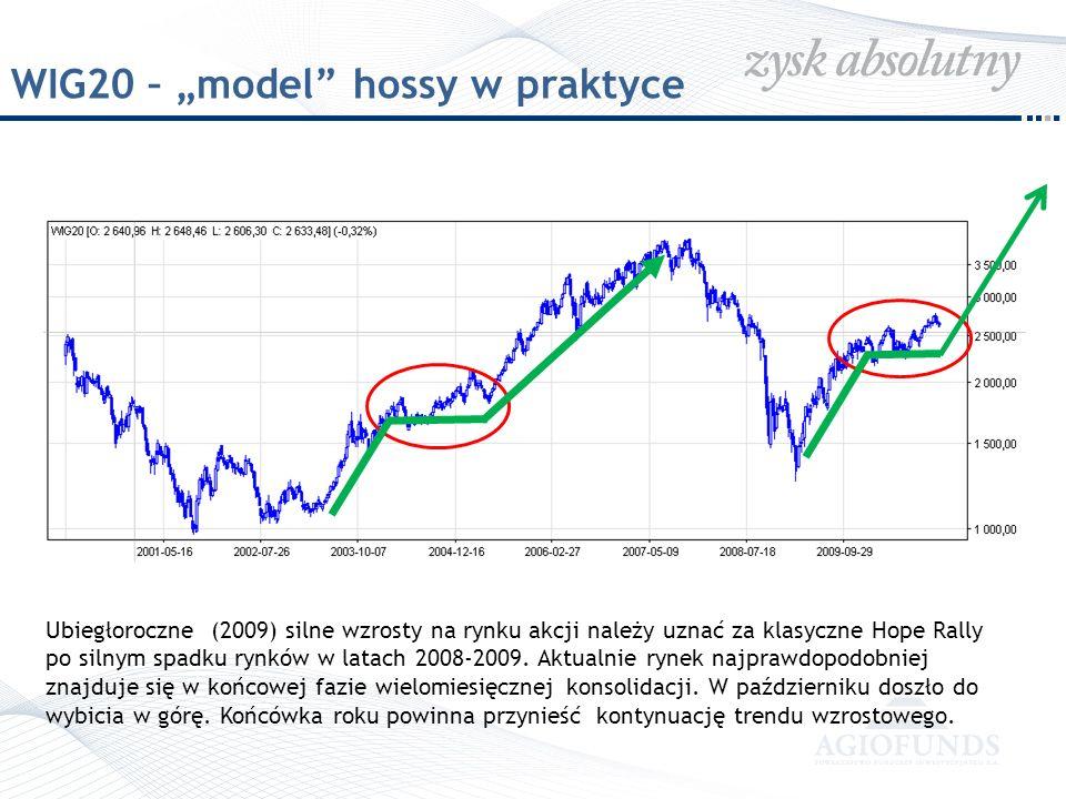 WIG20 – model hossy w praktyce Ubiegłoroczne (2009) silne wzrosty na rynku akcji należy uznać za klasyczne Hope Rally po silnym spadku rynków w latach