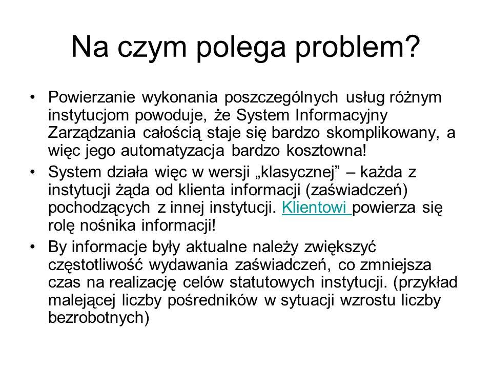 Na czym polega problem? Powierzanie wykonania poszczególnych usług różnym instytucjom powoduje, że System Informacyjny Zarządzania całością staje się