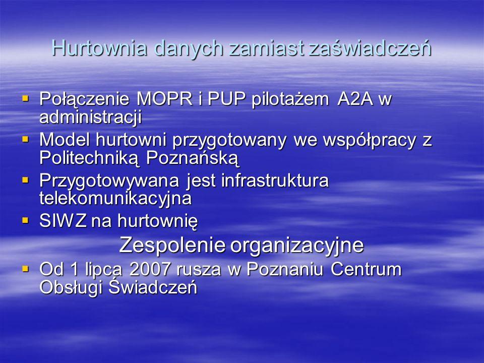 Hurtownia danych zamiast zaświadczeń Połączenie MOPR i PUP pilotażem A2A w administracji Połączenie MOPR i PUP pilotażem A2A w administracji Model hur