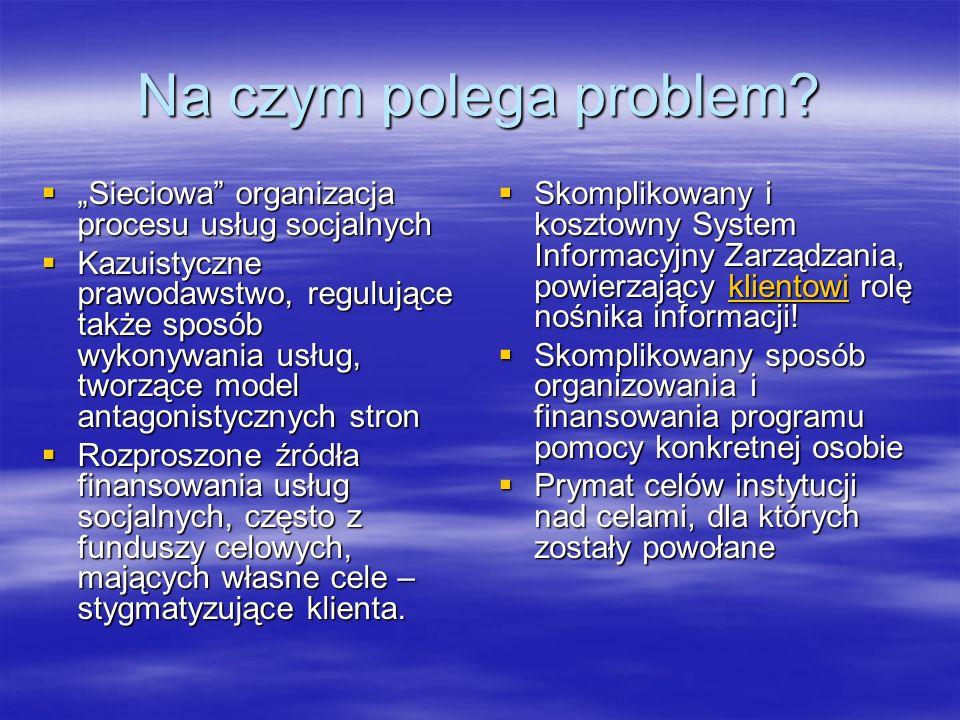 Na czym polega problem? Sieciowa organizacja procesu usług socjalnych Sieciowa organizacja procesu usług socjalnych Kazuistyczne prawodawstwo, reguluj