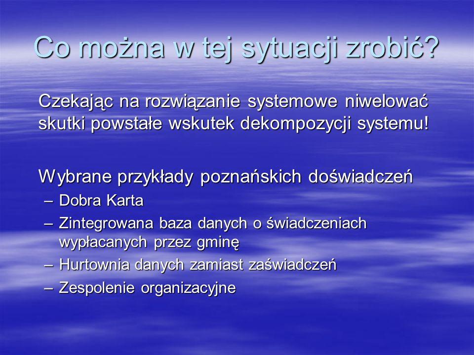 Dobra Karta – projekt, by to odbiorca świadczeń ubiegał się o integrację usług Projekt zrealizowany przez Miasto Poznań i PKO BP w II połowie 2005 roku dla obsługi świadczeń rodzinnych Pozwolił na zlikwidowanie wypłat w gotówce Pozwolił na zlikwidowanie wypłat w gotówce Zachęciła klientów będących beneficjentami innych świadczeń do występowania z wnioskami o ich wypłatę na konto Dobrej Karty Zachęciła klientów będących beneficjentami innych świadczeń do występowania z wnioskami o ich wypłatę na konto Dobrej Karty Dostarcza nowoczesny instrument do zagrożonych wykluczeniem cyfrowym Dostarcza nowoczesny instrument do zagrożonych wykluczeniem cyfrowym Wydano ponad 8.000 kart Wydano ponad 8.000 kart Miasto Poznań wydało też inne karty KomKarta – bilet okresowy komunikacji miejskiej KomKarta – bilet okresowy komunikacji miejskiej Karta SOP Karta SOP Aktualnie wprowadzana jest ELS Aktualnie wprowadzana jest ELS