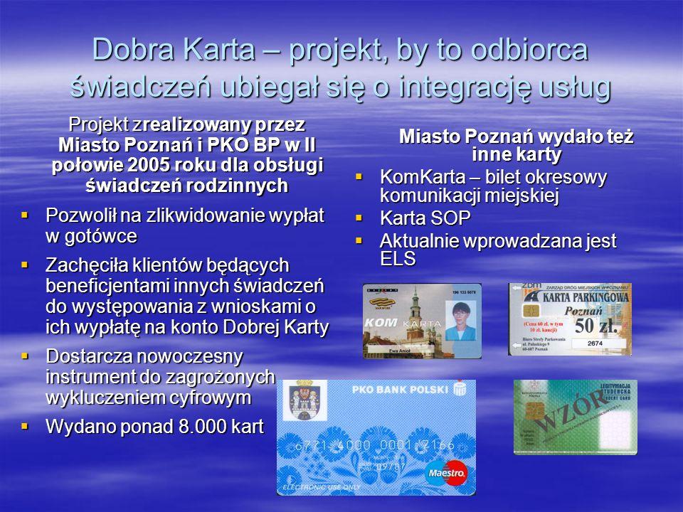 Projekt kluczowy WRPO – Poznańska Elektroniczna Karta Aglomeracyjna Przełamuje stereotyp, że każda instytucja musi mieć własne narzędzia - lepiej, gdy jest wiele kart w jednej: Dane właściciela zapisane w standardzie europejskiego dowodu osobistego Dane właściciela zapisane w standardzie europejskiego dowodu osobistego Podpis elektroniczny Podpis elektroniczny Legitymacja (studenta, ucznia) Legitymacja (studenta, ucznia) Bilet MPK Bilet MPK Instrument pieniądza elektronicznego i elektroniczna portmonetka (mikropłatności) Instrument pieniądza elektronicznego i elektroniczna portmonetka (mikropłatności) Możliwe dokumentowanie stanu zdrowia i dowód ubezpieczenia zdrowotnego Możliwe dokumentowanie stanu zdrowia i dowód ubezpieczenia zdrowotnego Karta pracownika miejskiego (kontrola dostępu, parking) Karta pracownika miejskiego (kontrola dostępu, parking) Elektroniczna wywiadówka Elektroniczna wywiadówka Budżet projektu 8 milionów Euro