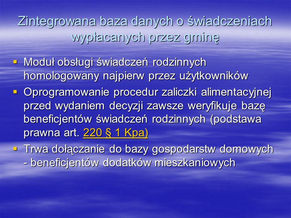 Hurtownia danych zamiast zaświadczeń Połączenie MOPR i PUP pilotażem A2A w administracji Połączenie MOPR i PUP pilotażem A2A w administracji Model hurtowni przygotowany we współpracy z Politechniką Poznańską Model hurtowni przygotowany we współpracy z Politechniką Poznańską Przygotowywana jest infrastruktura telekomunikacyjna Przygotowywana jest infrastruktura telekomunikacyjna SIWZ na hurtownię SIWZ na hurtownię Zespolenie organizacyjne Od 1 lipca 2007 rusza w Poznaniu Centrum Obsługi Świadczeń Od 1 lipca 2007 rusza w Poznaniu Centrum Obsługi Świadczeń