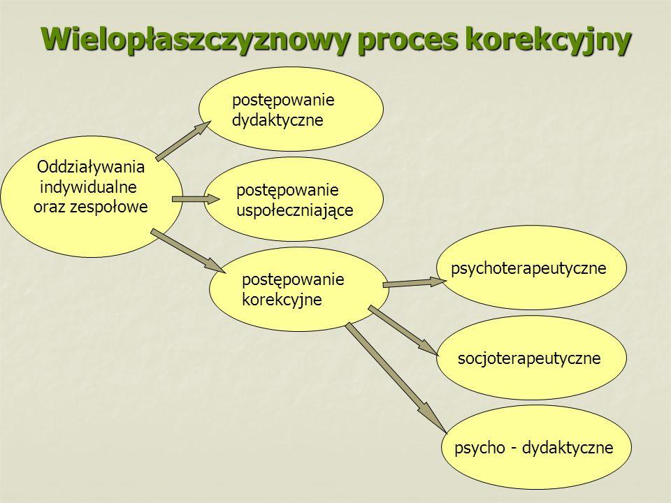 Wielopłaszczyznowy proces korekcyjny Oddziaływania indywidualne oraz zespołowe postępowanie korekcyjne postępowanie uspołeczniające postępowanie dydak
