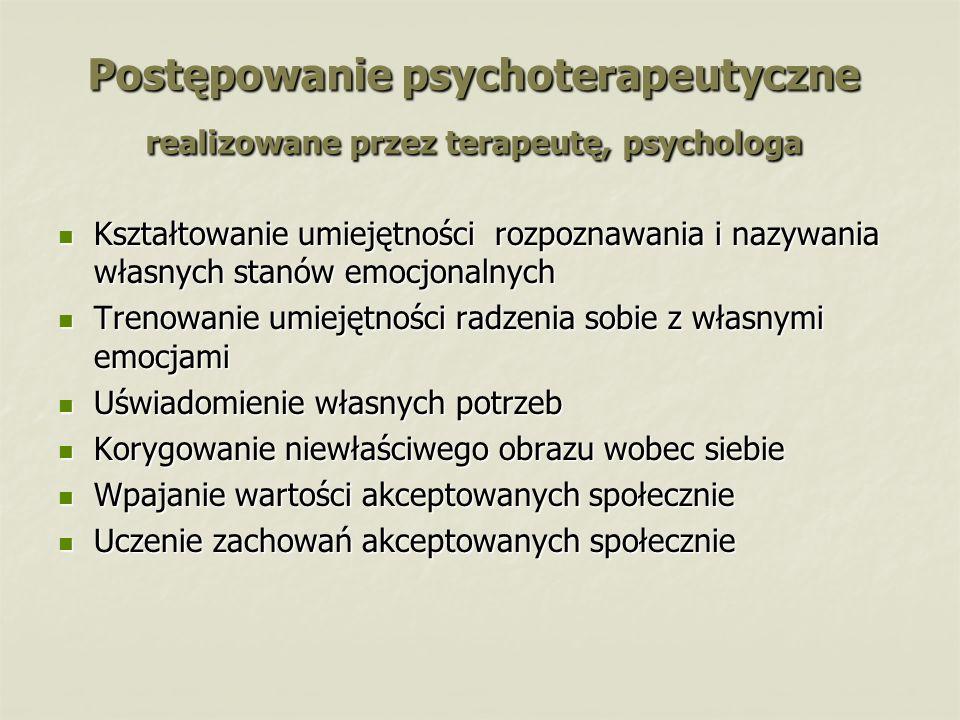 Postępowanie psychoterapeutyczne realizowane przez terapeutę, psychologa Kształtowanie umiejętności rozpoznawania i nazywania własnych stanów emocjona