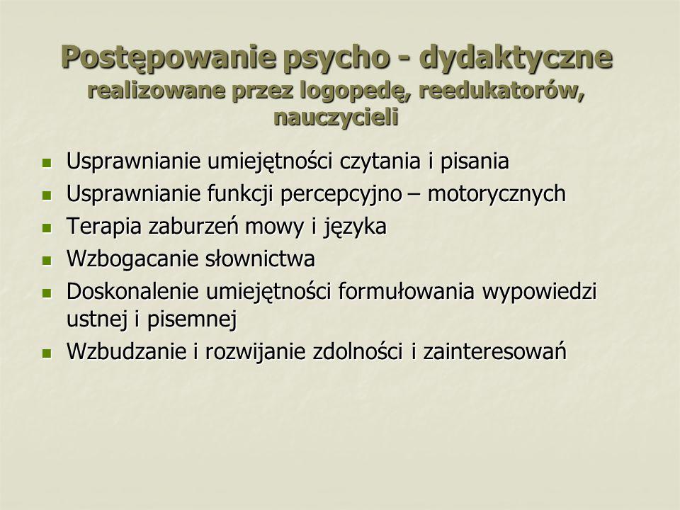 Postępowanie psycho - dydaktyczne realizowane przez logopedę, reedukatorów, nauczycieli Usprawnianie umiejętności czytania i pisania Usprawnianie umie