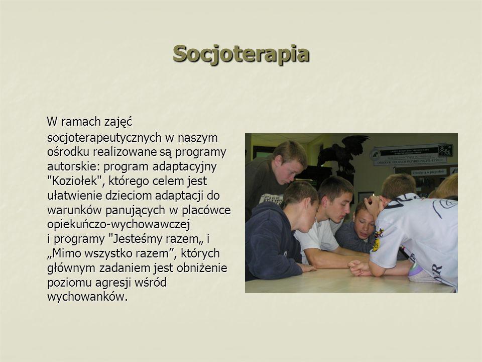 Socjoterapia W ramach zajęć socjoterapeutycznych w naszym ośrodku realizowane są programy autorskie: program adaptacyjny