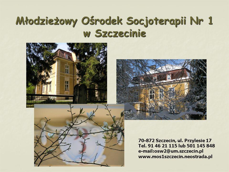 Młodzieżowy Ośrodek Socjoterapii Nr 1 w Szczecinie 70-872 Szczecin, ul. Przylesie 17 Tel. 91 46 21 115 lub 501 145 848 e-mail:osw2@um.szczecin.pl www.