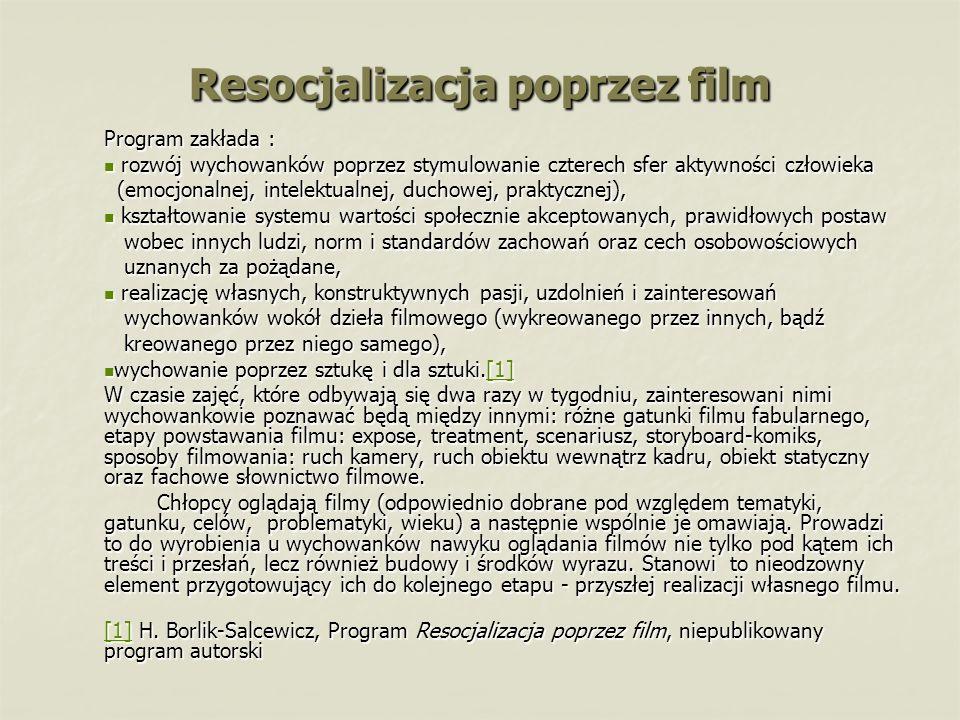 Resocjalizacja poprzez film Program zakłada : rozwój wychowanków poprzez stymulowanie czterech sfer aktywności człowieka rozwój wychowanków poprzez st