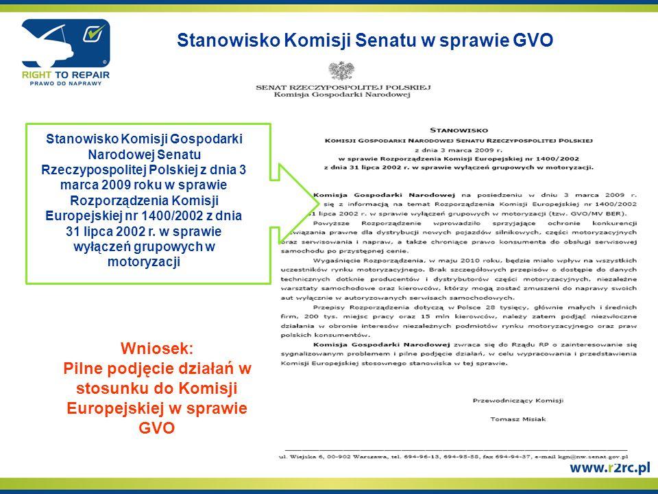 Stanowisko Komisji Senatu w sprawie GVO Stanowisko Komisji Gospodarki Narodowej Senatu Rzeczypospolitej Polskiej z dnia 3 marca 2009 roku w sprawie Rozporządzenia Komisji Europejskiej nr 1400/2002 z dnia 31 lipca 2002 r.