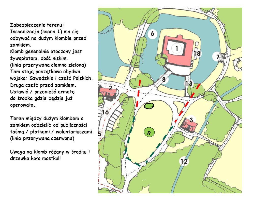 R Zabezpieczenie terenu: Inscenizacja (scena 1) ma się odbywać na dużym klombie przed zamkiem. Klomb generalnie otoczony jest żywopłotem, dość niskim.