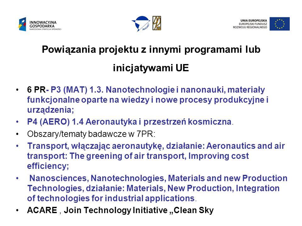 Powiązania projektu z innymi programami lub inicjatywami UE 6 PR- P3 (MAT) 1.3.