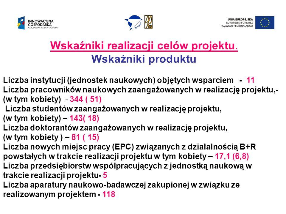 Wskaźniki realizacji celów projektu.