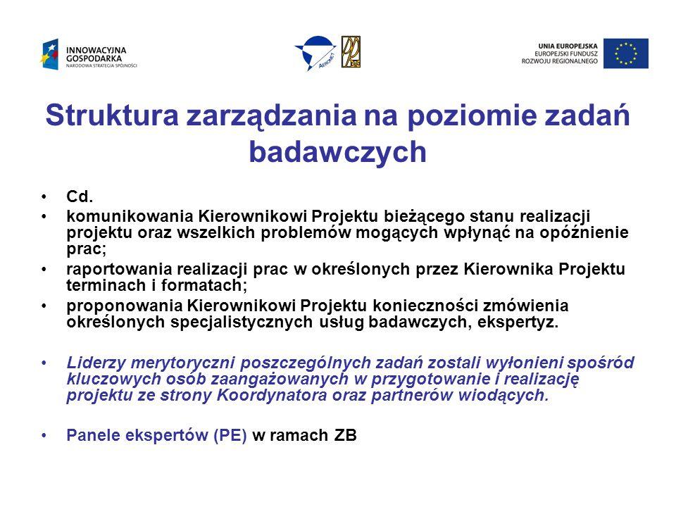 Struktura zarządzania na poziomie zadań badawczych Cd.