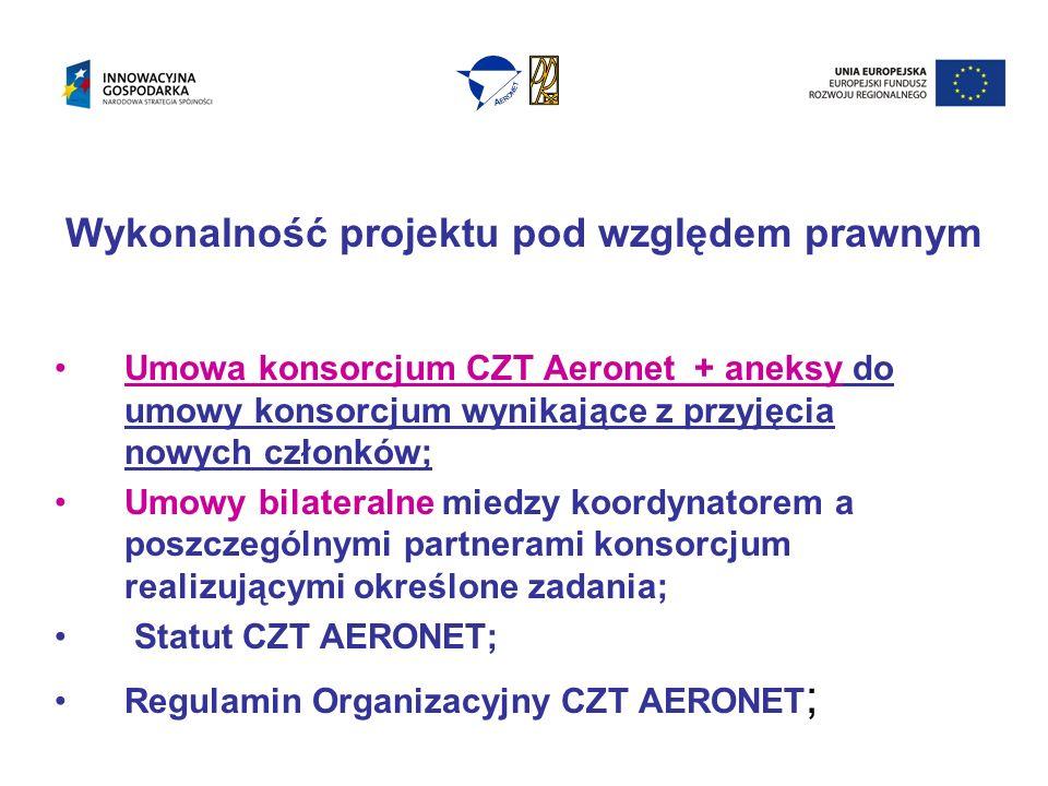 Wykonalność projektu pod względem prawnym Umowa konsorcjum CZT Aeronet + aneksy do umowy konsorcjum wynikające z przyjęcia nowych członków; Umowy bilateralne miedzy koordynatorem a poszczególnymi partnerami konsorcjum realizującymi określone zadania; Statut CZT AERONET; Regulamin Organizacyjny CZT AERONET ;