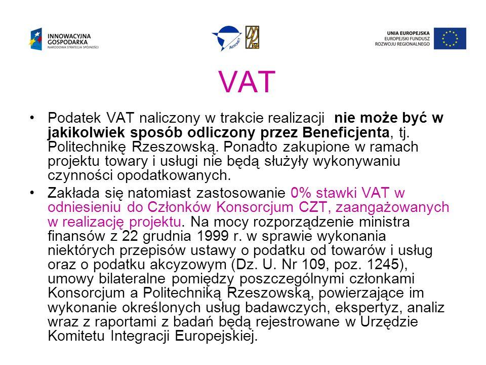VAT Podatek VAT naliczony w trakcie realizacji nie może być w jakikolwiek sposób odliczony przez Beneficjenta, tj.