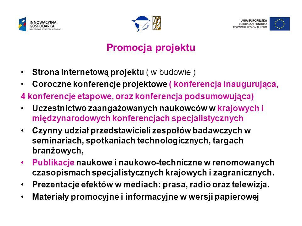Promocja projektu Strona internetową projektu ( w budowie ) Coroczne konferencje projektowe ( konferencja inaugurująca, 4 konferencje etapowe, oraz konferencja podsumowująca) Uczestnictwo zaangażowanych naukowców w krajowych i międzynarodowych konferencjach specjalistycznych Czynny udział przedstawicieli zespołów badawczych w seminariach, spotkaniach technologicznych, targach branżowych, Publikacje naukowe i naukowo-techniczne w renomowanych czasopismach specjalistycznych krajowych i zagranicznych.