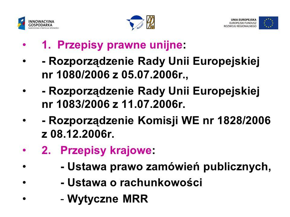 1. Przepisy prawne unijne: - Rozporządzenie Rady Unii Europejskiej nr 1080/2006 z 05.07.2006r., - Rozporządzenie Rady Unii Europejskiej nr 1083/2006 z