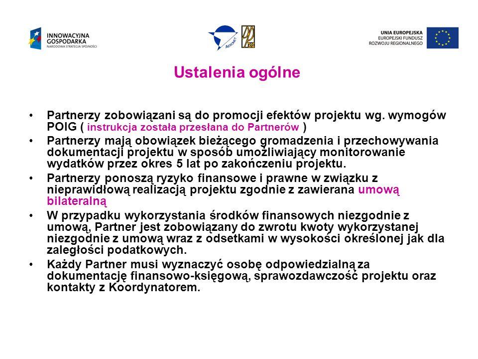 Ustalenia ogólne Partnerzy zobowiązani są do promocji efektów projektu wg.
