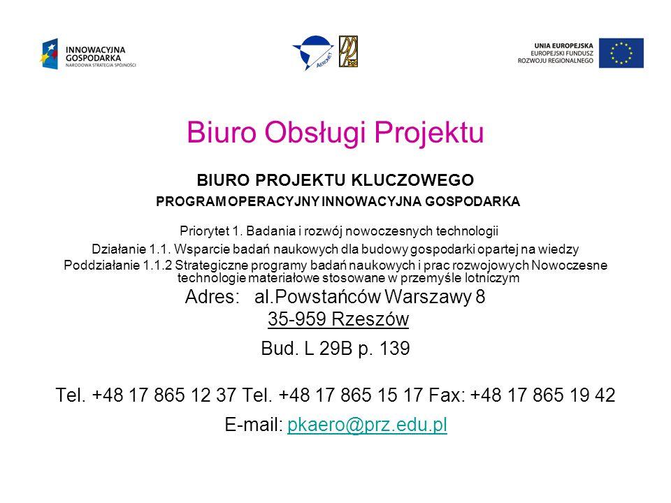 Biuro Obsługi Projektu BIURO PROJEKTU KLUCZOWEGO PROGRAM OPERACYJNY INNOWACYJNA GOSPODARKA Priorytet 1.