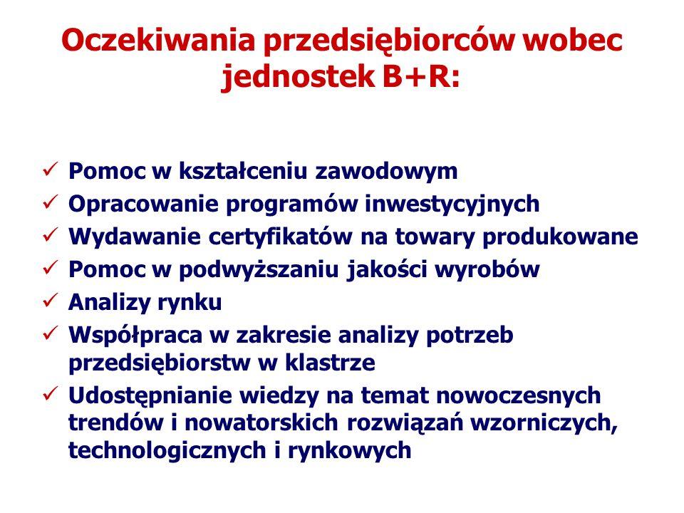 Oczekiwania przedsiębiorców wobec jednostek B+R: Pomoc w kształceniu zawodowym Opracowanie programów inwestycyjnych Wydawanie certyfikatów na towary p