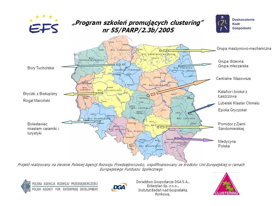 Program szkoleń promujących clustering nr 55/PARP/2.3b/2005 Doradztwo Gospodarcze DGA S.A., Enterplan Sp. z o.o., Instytut Badań nad Gospodarką Rynkow