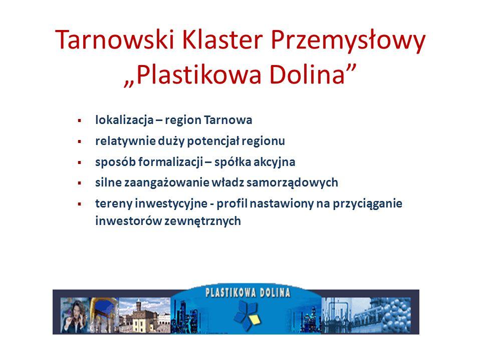 Tarnowski Klaster Przemysłowy Plastikowa Dolina lokalizacja – region Tarnowa relatywnie duży potencjał regionu sposób formalizacji – spółka akcyjna si