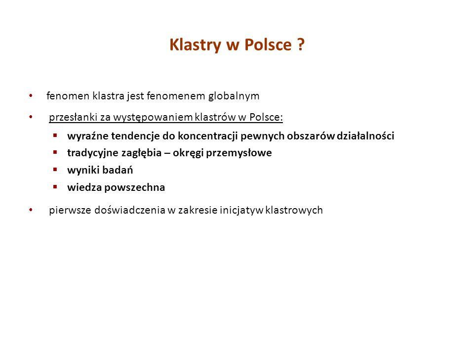 fenomen klastra jest fenomenem globalnym przesłanki za występowaniem klastrów w Polsce: wyraźne tendencje do koncentracji pewnych obszarów działalnośc