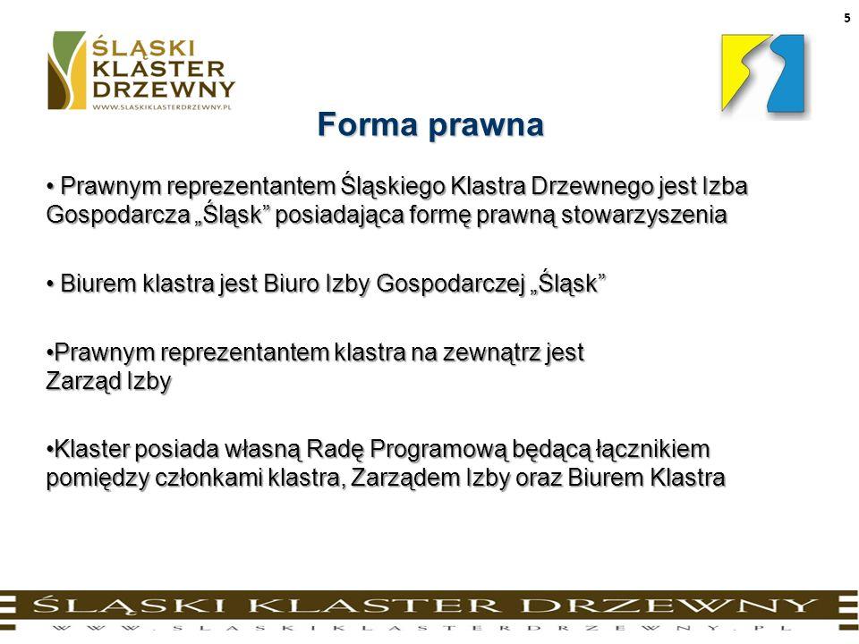 5 Forma prawna Prawnym reprezentantem Śląskiego Klastra Drzewnego jest Izba Gospodarcza Śląsk posiadająca formę prawną stowarzyszenia Prawnym reprezen