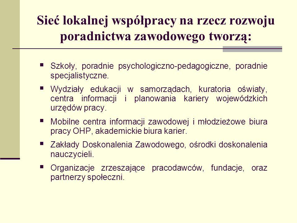 Sieć lokalnej współpracy na rzecz rozwoju poradnictwa zawodowego tworzą: Szkoły, poradnie psychologiczno-pedagogiczne, poradnie specjalistyczne. Wydzi