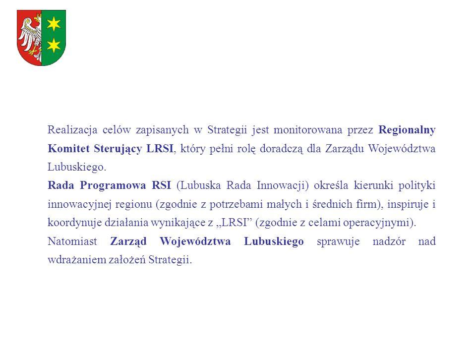 Realizacja celów zapisanych w Strategii jest monitorowana przez Regionalny Komitet Sterujący LRSI, który pełni rolę doradczą dla Zarządu Województwa L