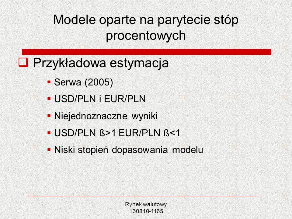 Rynek walutowy 130810-1165 Modele oparte na parytecie stóp procentowych Przykładowa estymacja Serwa (2005) USD/PLN i EUR/PLN Niejednoznaczne wyniki US