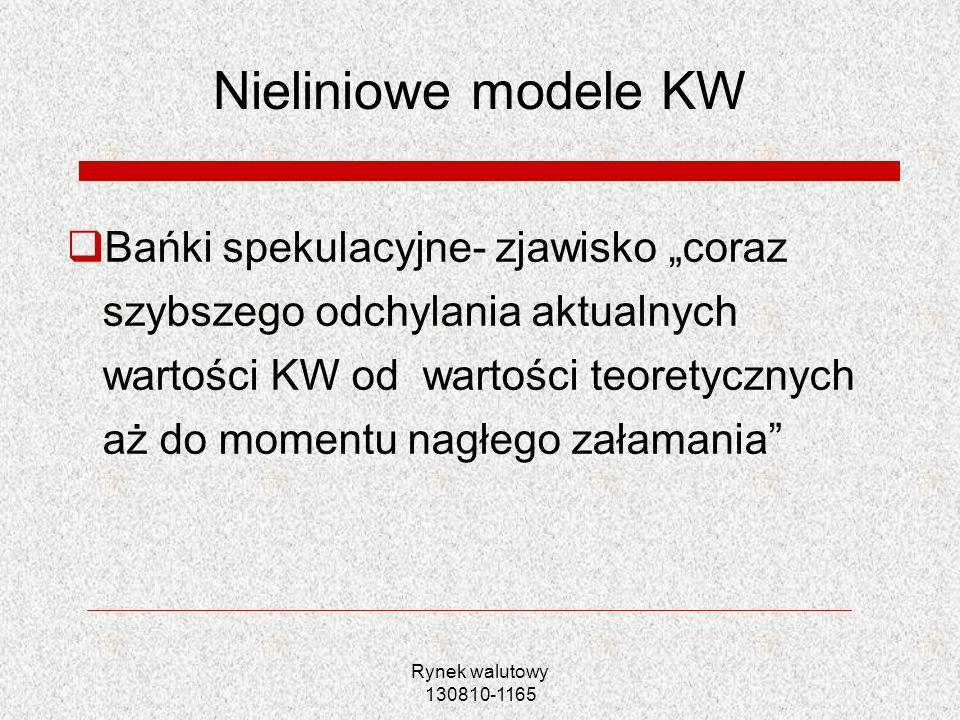 Rynek walutowy 130810-1165 Nieliniowe modele KW Bańki spekulacyjne- zjawisko coraz szybszego odchylania aktualnych wartości KW od wartości teoretyczny