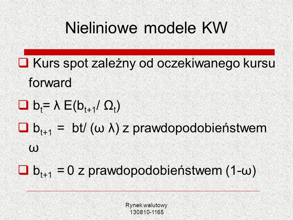 Rynek walutowy 130810-1165 Nieliniowe modele KW Kurs spot zależny od oczekiwanego kursu forward b t = λ E(b t+1 / Ω t ) b t+1 = bt/ (ω λ) z prawdopodo