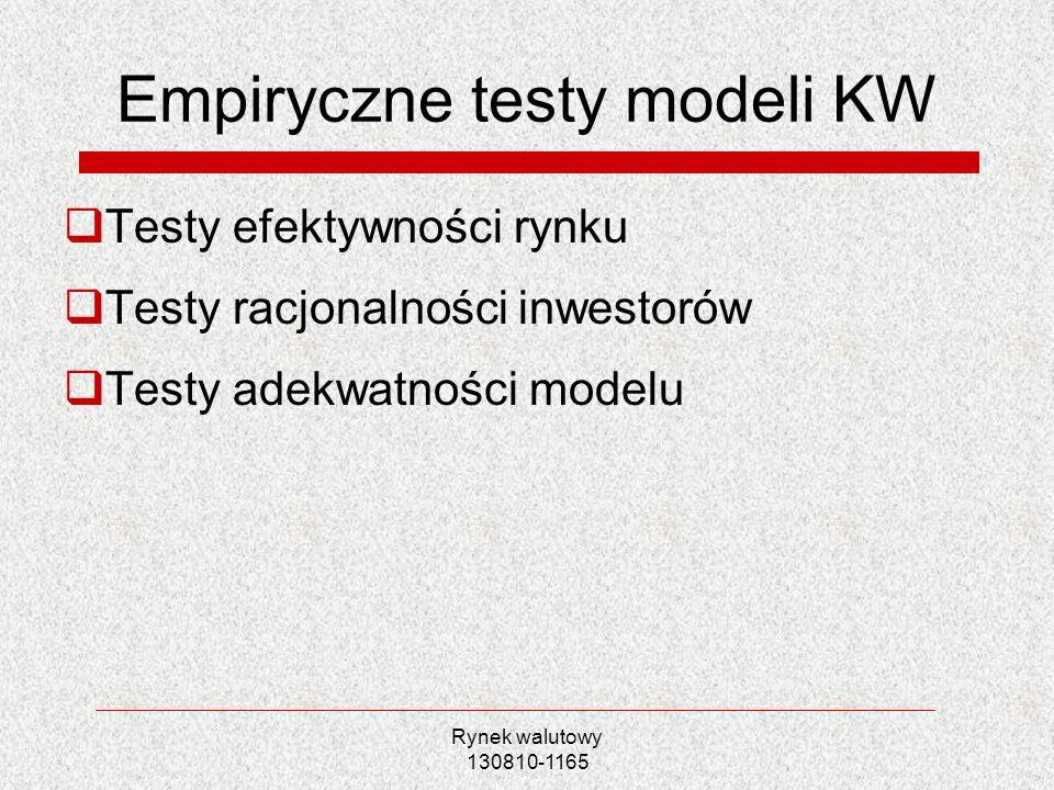 Rynek walutowy 130810-1165 Empiryczne testy modeli KW Testy efektywności rynku Testy racjonalności inwestorów Testy adekwatności modelu