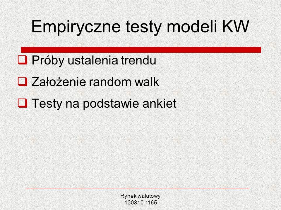 Rynek walutowy 130810-1165 Empiryczne testy modeli KW Próby ustalenia trendu Założenie random walk Testy na podstawie ankiet