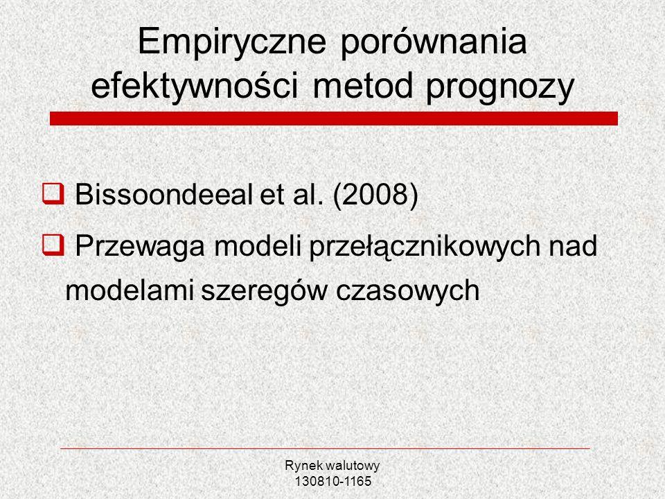 Rynek walutowy 130810-1165 Empiryczne porównania efektywności metod prognozy Bissoondeeal et al. (2008) Przewaga modeli przełącznikowych nad modelami