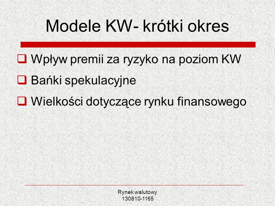 Rynek walutowy 130810-1165 Modele KW- krótki okres Wpływ premii za ryzyko na poziom KW Bańki spekulacyjne Wielkości dotyczące rynku finansowego