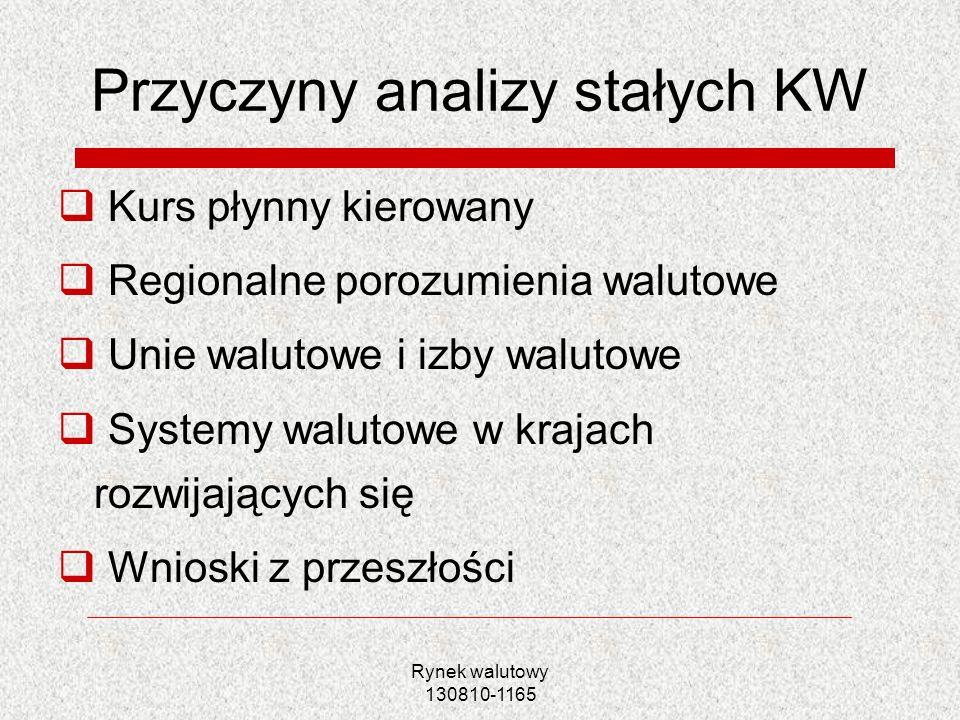 Rynek walutowy 130810-1165 Równowaga na rynku walutowym w warunkach stałych KW Interwencje BC w celu utrzymania KW konieczność dostosowania krajowej podaży pieniądza aby zachować równowagę na rynku pieniężnym