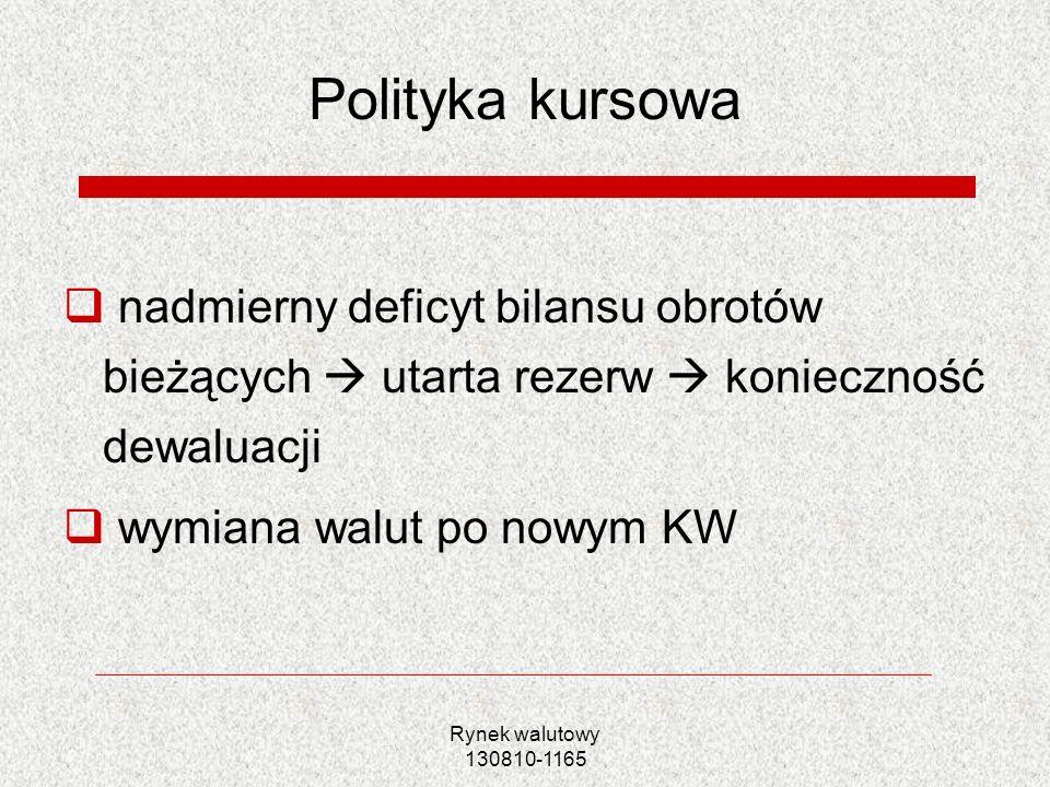 Rynek walutowy 130810-1165 Polityka kursowa nadmierny deficyt bilansu obrotów bieżących utarta rezerw konieczność dewaluacji wymiana walut po nowym KW